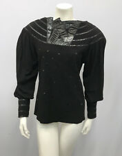 VINTAGE PEASANT SUEDE SNAKESKIN BLOUSE TOP BLACK BY GRS HIGH QUALITY AMAZING S