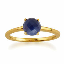 Solitaire Not Enhanced Sapphire Yellow Gold Fine Rings