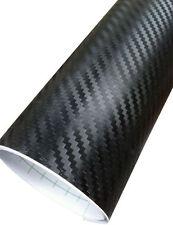 3d IN FIBRA DI CARBONIO Testurizzati Vinile Car Wrap Nero (Aria/Bolla Gratuito) 1.52m x 2m di lunghezza