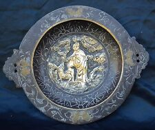ANTIQUE SIGNED VERY HEAVY CHINESE BRASS PLATE BOWL DISH OVER 2.2 KG AGE PATINA