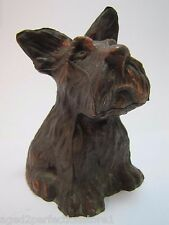 Vintage Scottie Dog Bank ornate figural still bank cast metal copper bronze wash