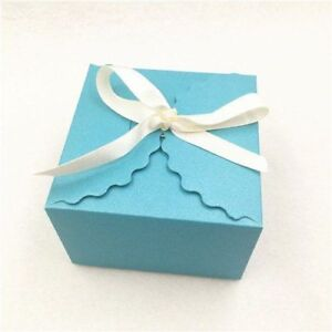 Kraft Paper Square Candy Box Wedding Favors Party Gift Boxes With Ribbon Present