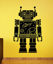 Robot Wall Sticker Retro Vinyl Decal Vintage Atr Childrens Room Wall Decor 15rt