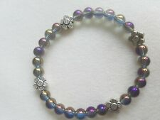 Purple Blue Aura Quartz & silver tone Flower Bead Bracelet 6mm handmade