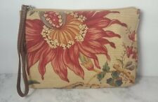 TALBOTS Printed Fabric Makeup Bag Floral Brown Adorable