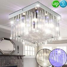 LED chrome plafonnier salon lustre en verre suspendus cristaux effets de lumière