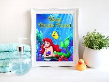 Wash Brush Flush Little Mermaid Bathroom Wall Art Print - 8x10