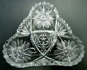 ANTIQUE 1910s EAPG CANDY NUT DISH BOWL CLEAR GLASS WHEEL CUT DAISY STAR PATTERN
