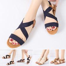 Fashion Women's Flats Espadrille Sandals Elastic Strap Summer Beach Shoes Sizes