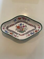 Copeland Spode Chinese Rose Green Trimmed Floral Diamond Relish Pickle Dish EUC
