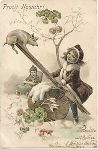 Pigs, Girl Playing on the Seesaw with a Little Pig, S.: Hegedus Geiger, New Year