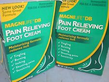 MagniLife DB Pain Relieving Foot Cream 4 oz  each (2pk bundle) fresh & new