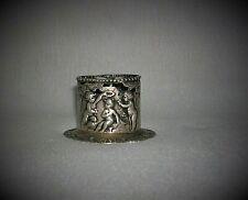 Antique Victorian 800 Silver Repousee Cherub / Putti Toothpick Holder Hallmarks