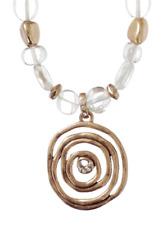 £55 Boho Tribal Celtic Spiral Gold Pendant Necklace Swarovski Elements Crystal
