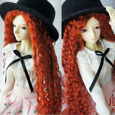 8-9'' 1/3 BJD Doll SD Dollfie DZ DOD LUTS Long Curly Red Mohair Part Bang Wig