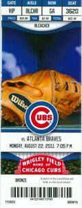 2011 Cubs vs Braves Ticket: Dan Uggla & Freddie Freeman HRs/Jair Jurrjens win
