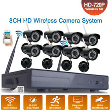 8CH HD Wireless NVR IR-CUT Wifi IP Camera Home Security System Motion Detection