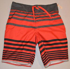 Boy's Arizona Red & Gray Stripe Swim Shorts Sizes M (8), L (10-12), XL (14-16)