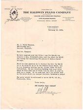 Baldwin Piano Company Cincinnati Ohio Oh Letter Letterhead Piano Repair 1930 G