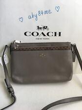 *NWT* Coach East West Pop Crossbody Bag In Smooth Leather Silver/Fog F56517