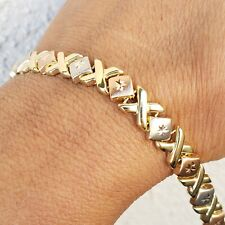 Womans 14k yellow white rose xoxo hugs kisse love Bracelet 7.25 inch long 7mm w