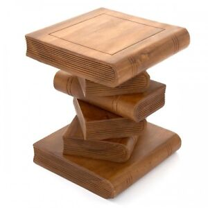 """Book Stack Table/Lamp Table/Plant Stand/Hand Carved/Solid Wood/Waxed 16"""""""