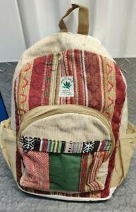 Hemp Bagpack natural red multicolor handmade organic sustainable vegan bag
