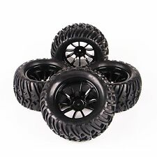 4 X RC Rubber Tire&Wheel Rim 12mm Hex For 1/10 Bigfoot Monster Truck Traxxas