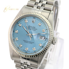 Rolex Mens Datejust  Steel Ice Blue Diamond Dial Fluted Bezel 36mm Watch