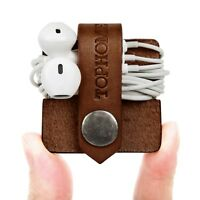 TOPHOME Cord Organizer Holder Headset Headphone Earphone Wrap Winder Leather BN