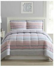 Shilo 3-Pc. Reversible Stripe or Clean Soft Blue King Size Comforter Set