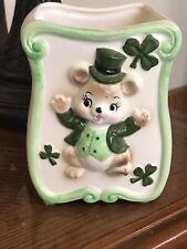 Vtg Lefton Ceramic Planter St. Patricks Day Green Shamrock 4.5� Japan Bear