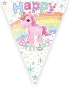 Unicorn Happy Birthday Banner Hanging Bunting Girl Party Decoration Partyware