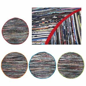 Handloom 100% Cotton Chindi Round Floor Mat 120 cm Diameter