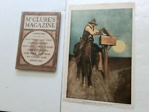C WYETH VINTAGE COWBOY ILLUSTRATIONS- CREAM OF WHEAT AD 1918+MCLURE'S ISSUE 1906