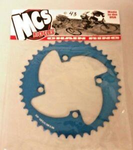 MCS BMX 104 4 BOLT CHAINRING GEAR USA MADE CNC 44T BLUE