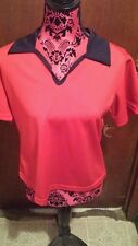 JEEZEES SIZE L SOLID RED  POLYESTER SHORT SLEEVE CAREER BLOUSE