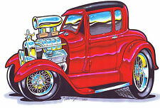 #BH113 T Shirt Hot Rod Blown Red 5 Window Coupe Apparel