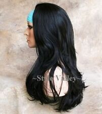 Long Black Straight Wavy 3/4 Fall Hair Piece Long layered Half wig Hairpiece #1