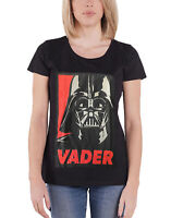 Official Womens Star Wars T Shirt Darth Vader Retro Poster New Black Skinny Fit