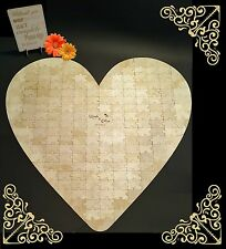 Large Heart-shape Wedding 190 pcs Jigsaw Puzzle personalised Guestbook, wooden,