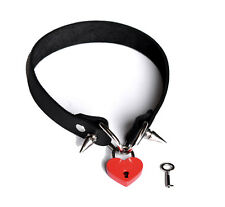 Red & Black Padlocked & Studded Black Handcrafted Luxury Leather Collar Col22Blk