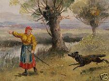 Landschaft - Mädchen spielt mit Hund......um 1920
