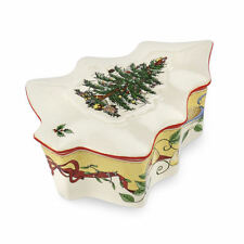 Spode Christmas Tree Shaped Covered Box w/Lid Trinket Porcelain 2012 Annual NEW