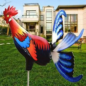 Handmade Metal Windmill Rooster Wind Spinners Statue Garden Farm Décor