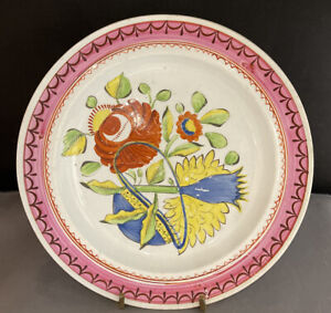 """Antique Staffordshire Gaudy Dutch Oyster Pattern Plate Pink  Border 7"""" D C.1825"""