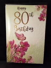 Large Quality Female 80th birthday card lovely colours and verse, butterfly