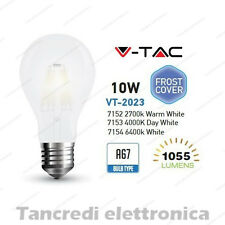 Lampadina led V-TAC 10W E27 VT-2023 A67 frost bianca filamento lampada opaca