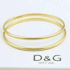 "2x Dg Men's Gold Stainless Steel,7.5"" Solid Bangle Classic Bracelet Unisex.Box"