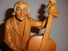 "Great Vintage 11"" Anri ? Hand Wood Carved Figure Cello Or Bass Player"